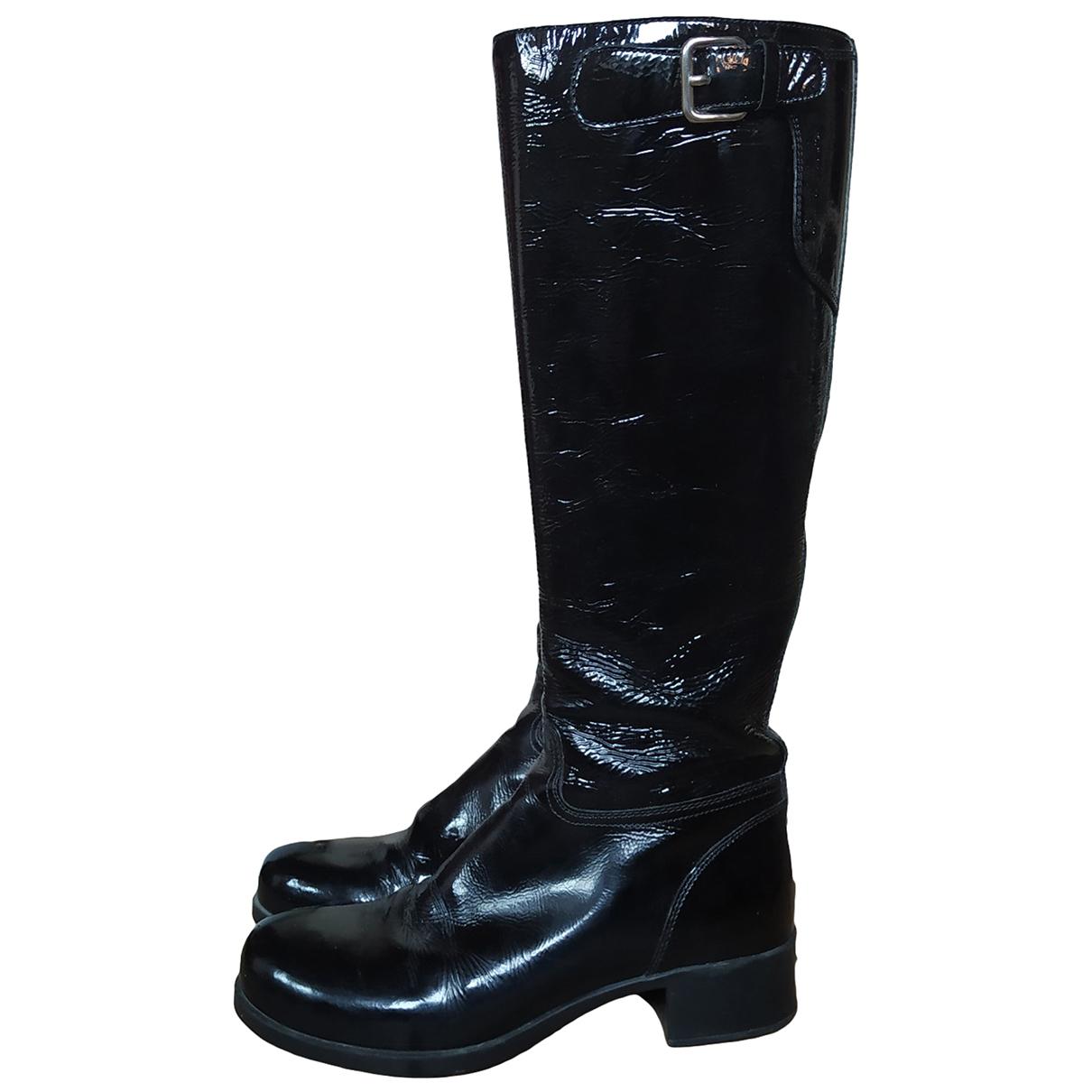 Prada \N Black Patent leather Boots for Women 36 EU