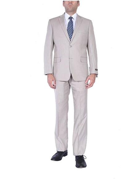 Mens 2Button Sand Single Breasted TwoPiece Classic Fit Side Vents Suit