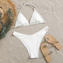 Gerippter Dreieckiger Bikini Badeanzug mit hohem Ausschnitt