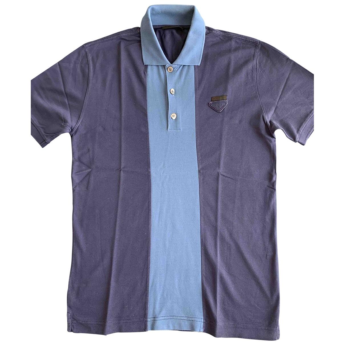 Prada - Polos   pour homme en coton - bleu