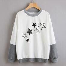 2 In 1 Sweatshirt mit Stern Muster