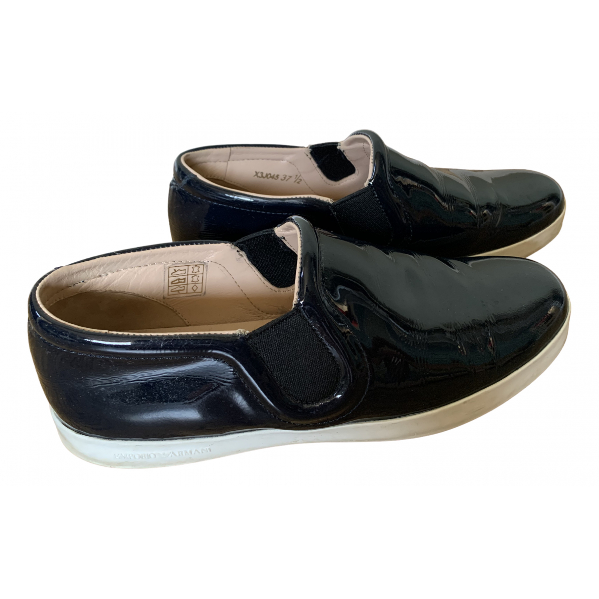 Emporio Armani \N Blue Patent leather Trainers for Women 37.5 EU
