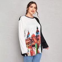 T-Shirt mit Farbblock und Gebaeude Muster