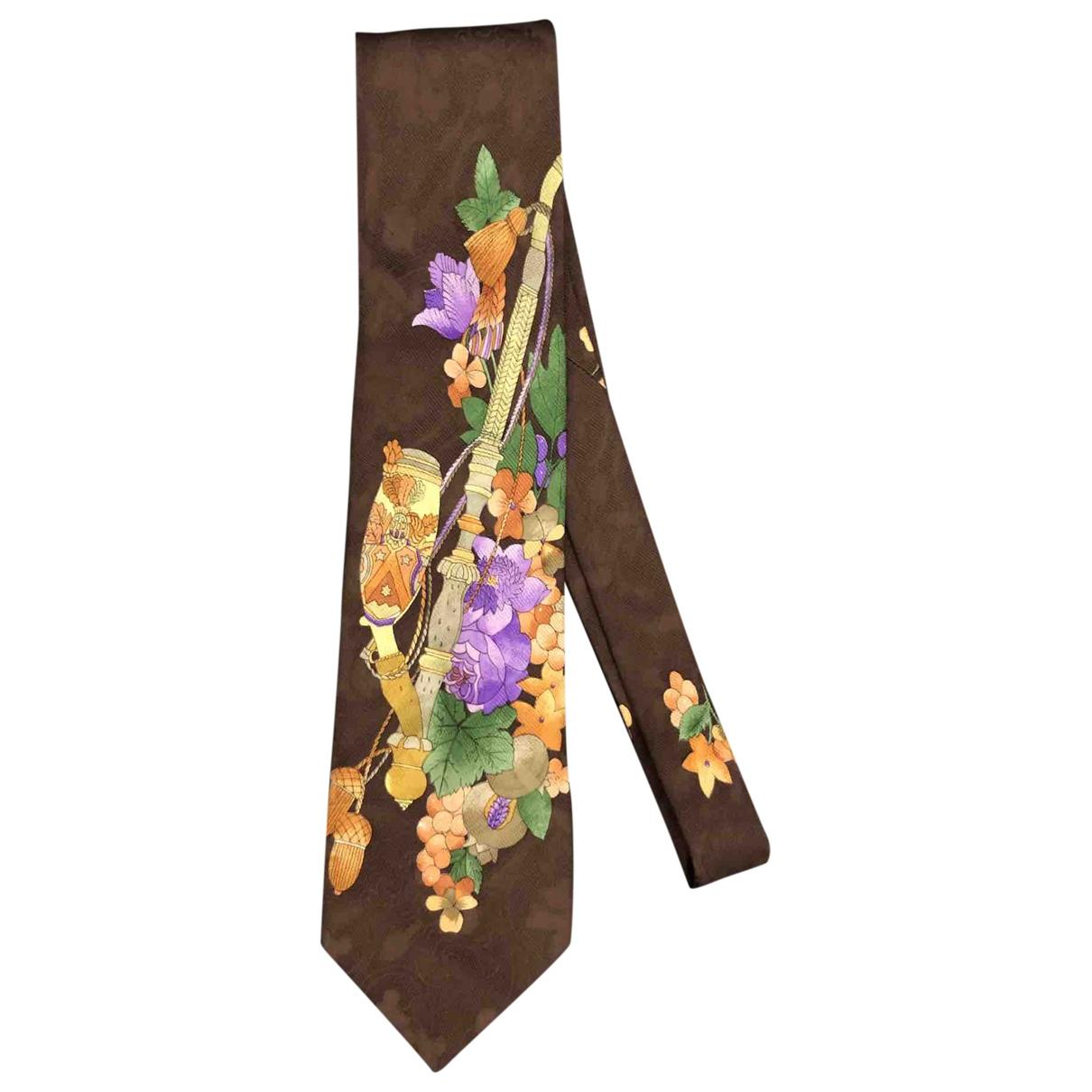 Leonard \N Krawatten in  Braun Seide