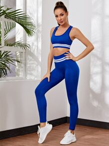 Striped Print Seamless Sports Bra With Sports Leggings