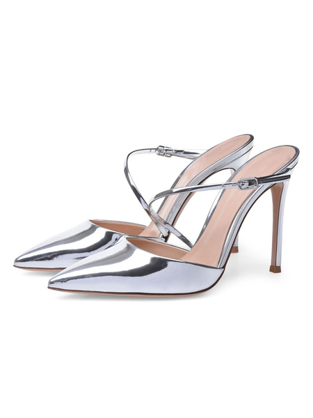 Milanoo Silver High Heels Women Pointed Toe Strappy Pu Leather Mule Shoes Party Shoes