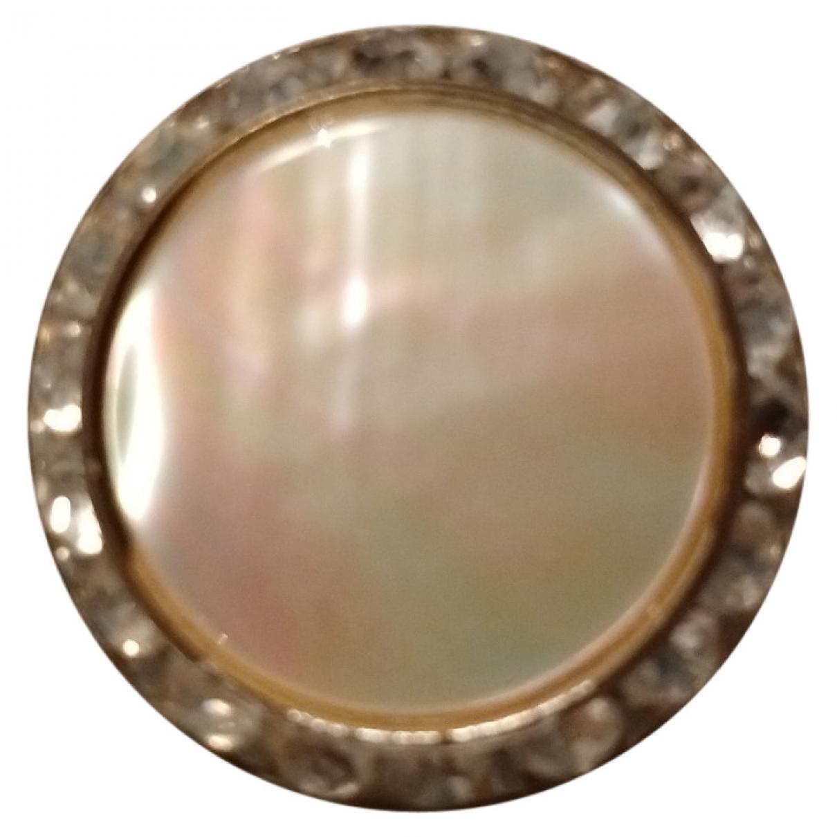 Non Signe / Unsigned Nacre Brosche in  Beige Metall