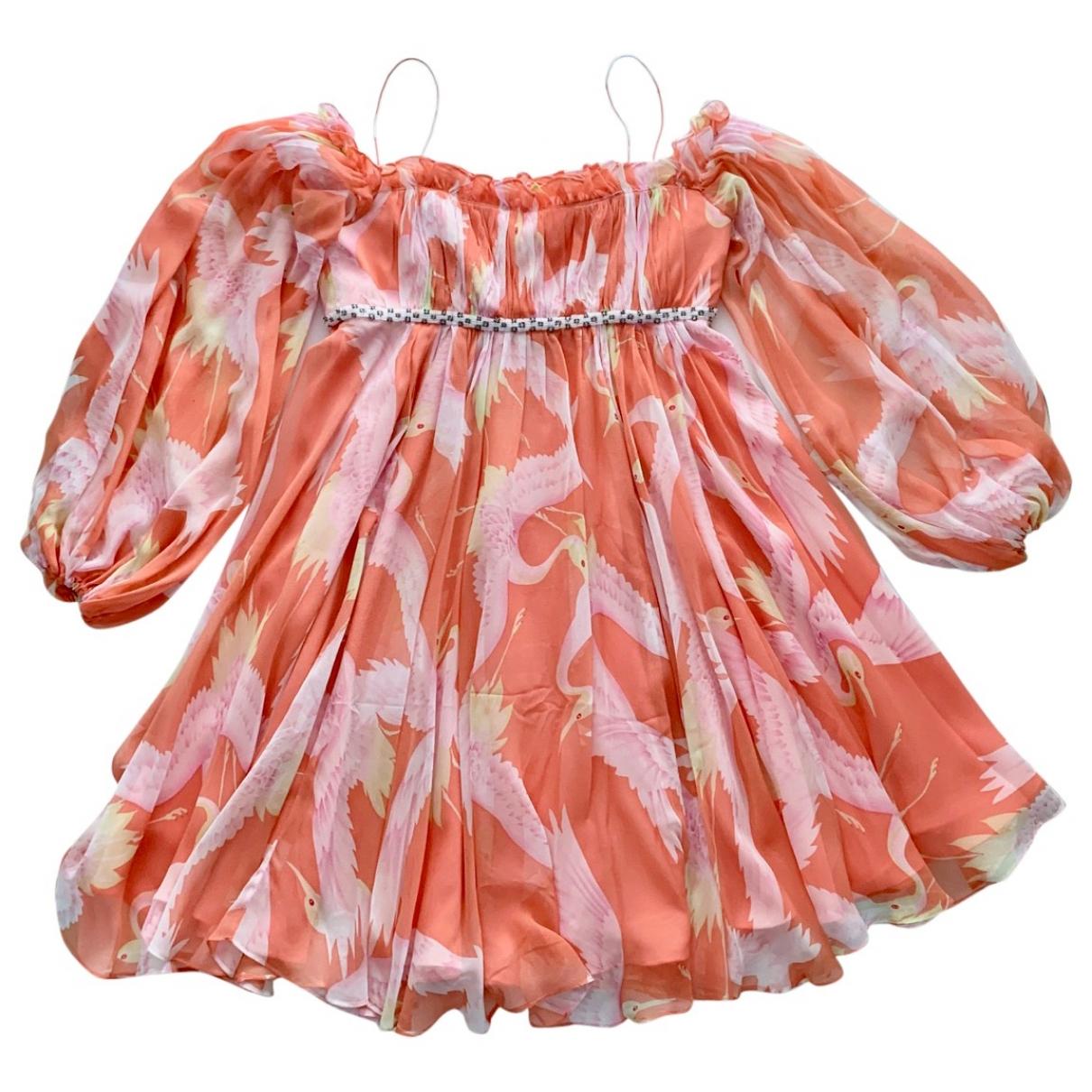 Marchesa Notte - Robe   pour femme en soie - orange