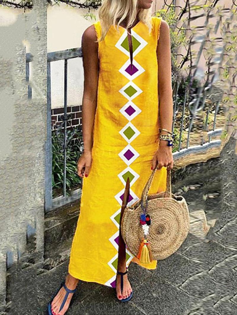 Ericdress Print Ankle-Length V-Neck Split Sleeveless Summer Casual Dress