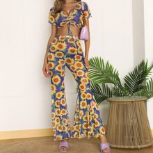 Allover Sunflower Drawstring Mesh Crop Top With Flare Leg Pants