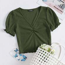 Strick T-Shirt mit gekraeuseltem Saum und Ruesche