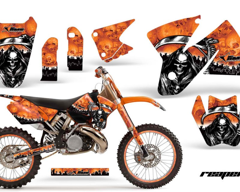 AMR Racing Graphics MX-NP-KTM-C2-98-01-RP O Kit Decal Sticker Wrap + # Plates For KTM SX/XC/EXC/MXC 1998-2001 REAPER ORANGE