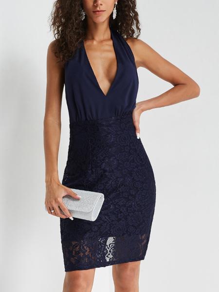 Yoins Navy Lace Deep V Neck Backless Dress