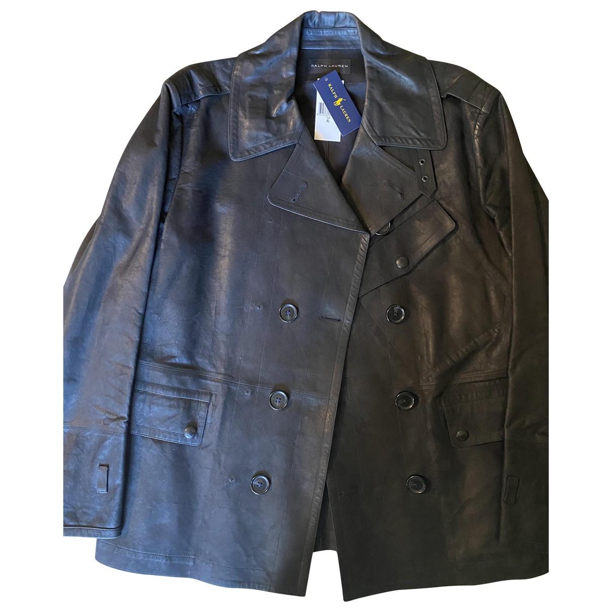 Ralph Lauren - Manteau   pour homme en cuir - noir