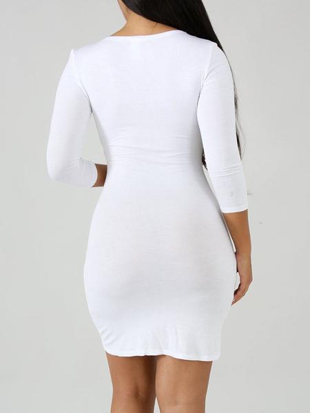 Milanoo Bodycon Dresses White V Neck Ruffles Casual Long Sleeves Pencil Dress