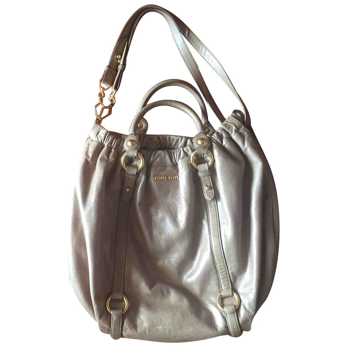Miu Miu - Sac a main Bow bag pour femme en cuir - gris