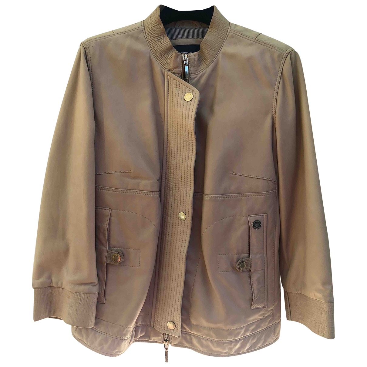 Emporio Armani \N Beige Leather jacket for Women 38 IT