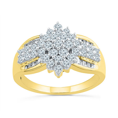 Womens 7/8 CT. T.W. Genuine White Diamond 10K Gold Engagement Ring, 6 , No Color Family