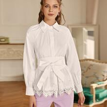 Contrast Lace Button Belted Blouse