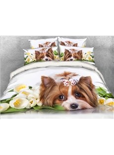 Yorkshire Terrier with Flowers Printed 4-Piece 3D White Bedding Sets/Duvet Covers