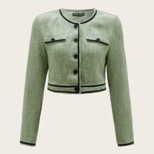 Contrast Trim Button Up Tweed Jacket