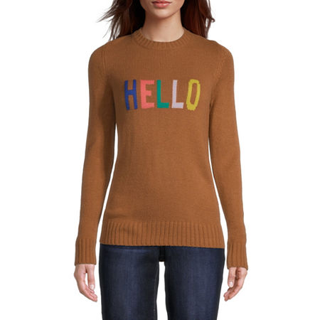 St. John's Bay Womens Crew Neck Long Sleeve Pullover Sweater, Small , Beige