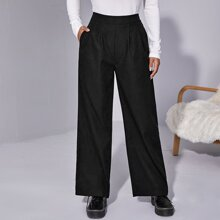 Pantalones de pierna ancha con bolsillo lateral con cremallera