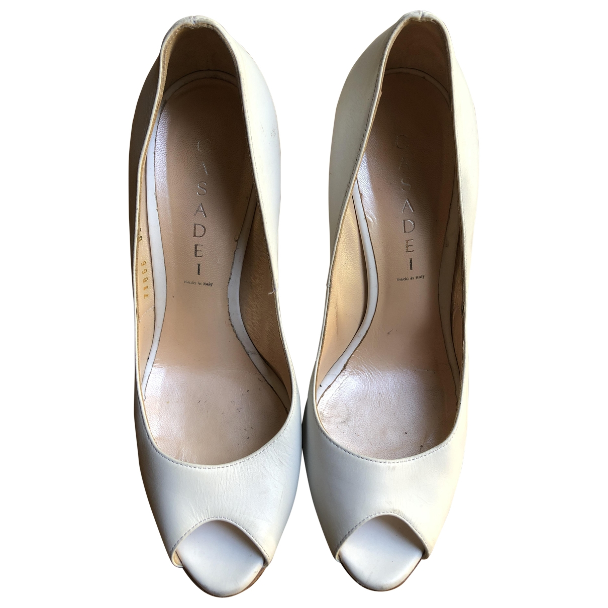 Casadei \N White Leather Heels for Women 38 EU