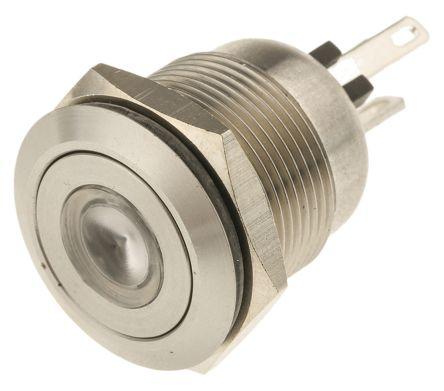 Bulgin Single Pole Single Throw (SPST) Momentary Green/Blue LED Push Button Switch, IP66, 19.2 (Dia.)mm, Panel Mount,