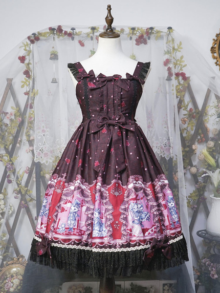 Milanoo Classic Lolita JSK Dress Neverland Opera Cat Print Ruffle Bow Lolita Jumper Skirt