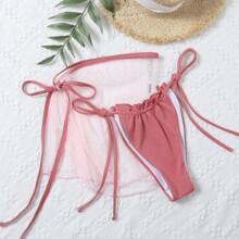 2 Packe Bikini Hoschen mit Rueschen und Strandrock mit Netzstoff