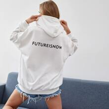Letter Graphic Oversize Drawstring Hoodie