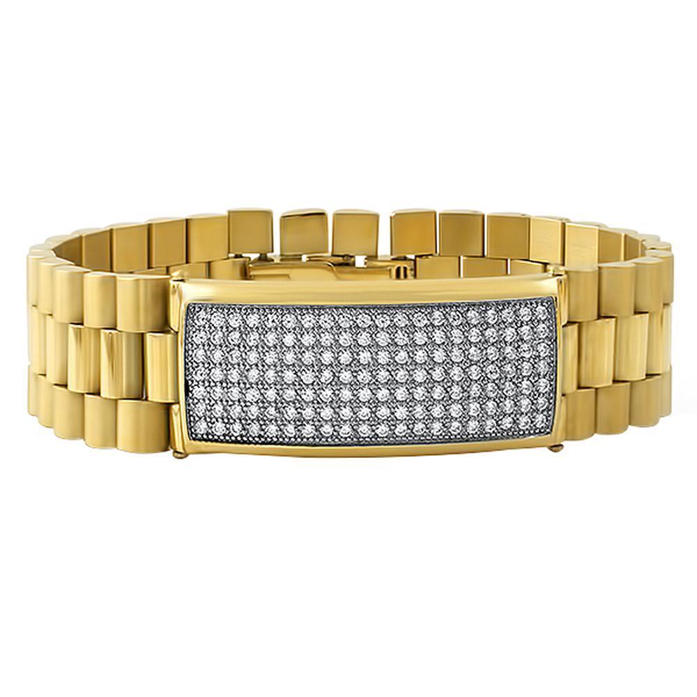 Gold President CZ ID Bling Bling Bracelet