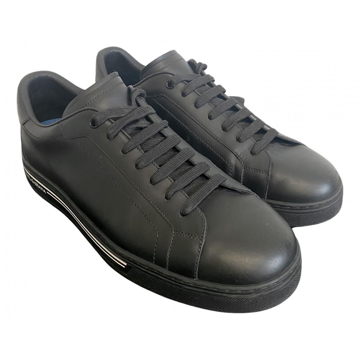 Dolce & Gabbana Portofino Black Leather Trainers for Men 44.5 EU