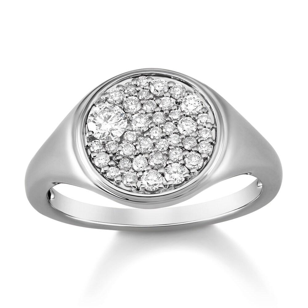 14k White Gold 1/2 Carat Diamond Halo Ring for Women (White)