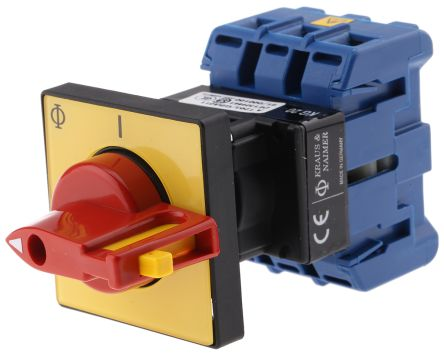 Kraus & Naimer 3 Pole Panel Mount Non Fused Isolator Switch - 25 A Maximum Current, 7.5 kW Power Rating, IP65