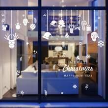 2 piezas pegatina de ventana con patron de navidad