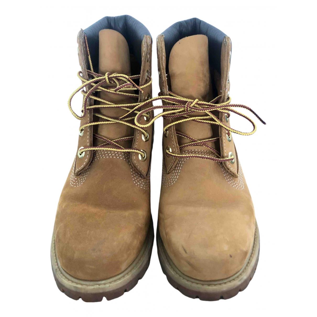 Timberland - Boots   pour femme en cuir - beige