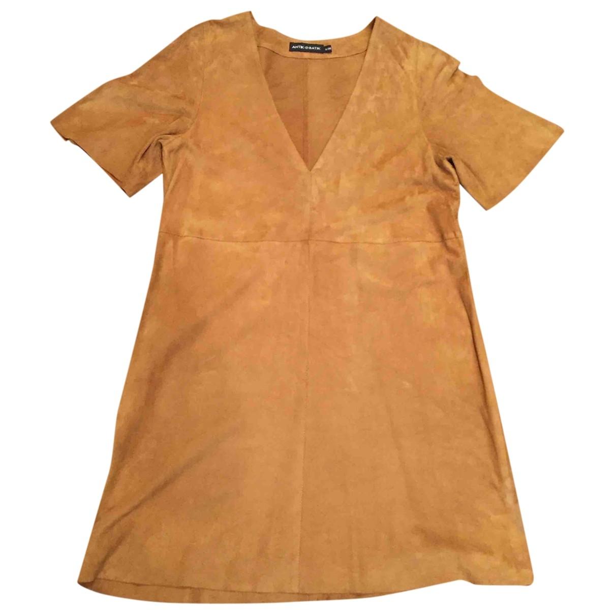 Antik Batik - Robe   pour femme en suede - camel