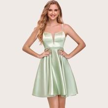 Satin Cami Kleid mit Netzeinsatz