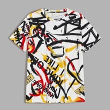 Maenner T-Shirt mit Buerste & Buchstaben Grafik