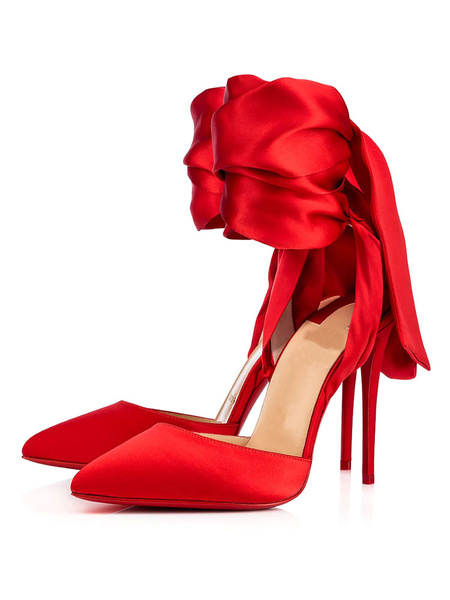 Milanoo Red Dress Shoes Prom Heels Satin Pointed Toe Bow Lace Up High Heels