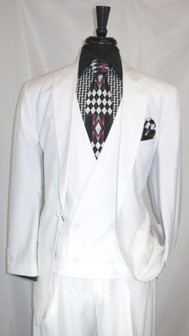 Men's Peak Lapel 2 Button White Multi Stripe Double Breasted Vest Suit