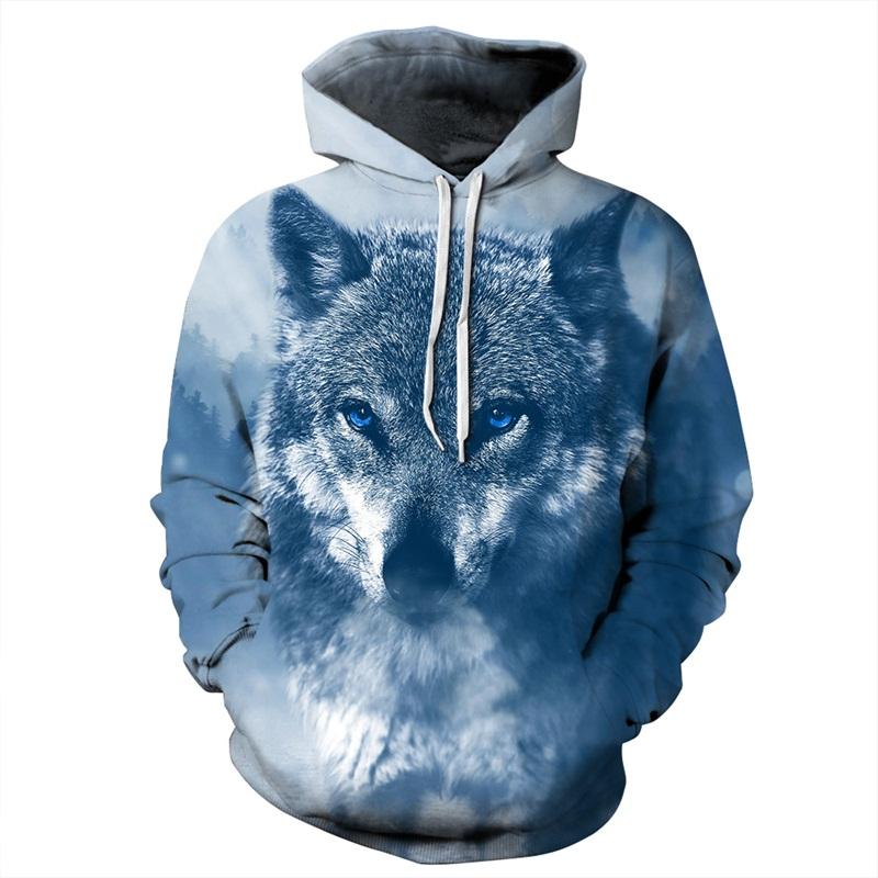 Long Sleeve Winter Wolf Snow Freezing Pattern 3D Painted Hoodie