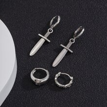 2pcs Guys Sword Decor Earrings