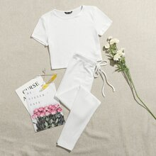 Strick T-Shirt & Leggings mit Taillenband