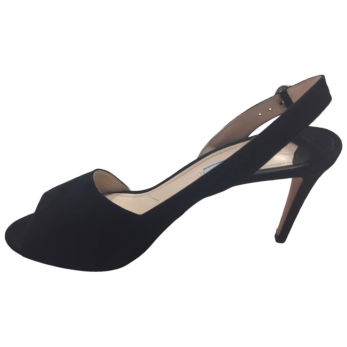 Prada \N Black Suede Heels for Women 39.5 EU