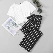 Twist Front Rib-knit Top & Belted Striped Pants Set