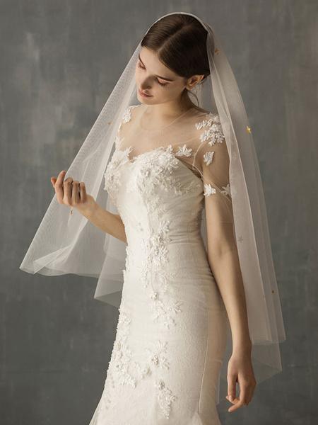 Milanoo Wedding Veils One Tier Cut Edge Classic Bridal Veils