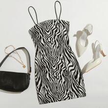 Slip Kleid mit Zebra Streifen